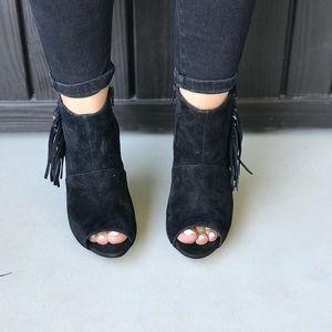 Guess Shoes - Black Peep Toe Fringe Tassel Ankle Boots
